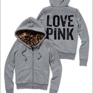 Pink zip hoodie with cheetah fur! SUPER RARE